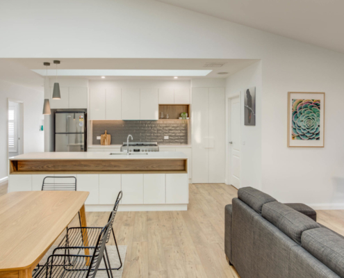 Square Set Home with Raked Ceiling and Skylight